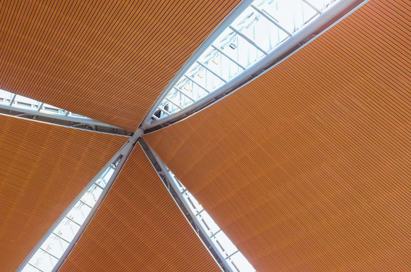 Architecture No People Pattern Built Structure Indoors  Orange Color Ceiling Day High Angle View Close-up Modern Metal Full Frame Backgrounds Transportation Geometric Shape Roof Striped Directly Below The Architect - 2019 EyeEm Awards