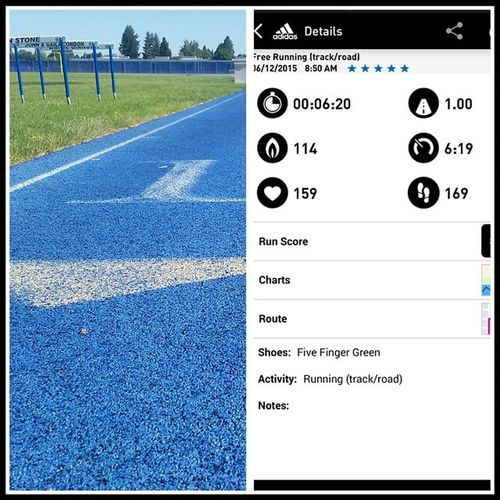 Track Workout morning Run it's not my best 1 mile at 5:45, 2 yrs ago, but I'll take a 6:19 without sprinting. Not bad at all. RunningIsTheAnswer Running Runfaster Adidas MiCoach Smartrun