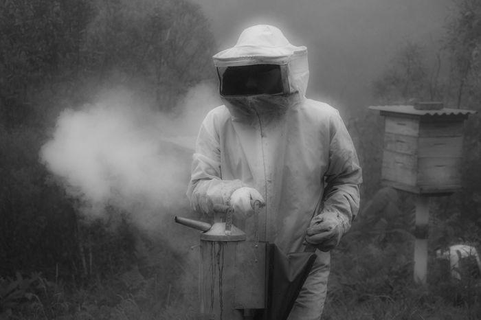Apocalypse Apocalyptic Beekeeper Beekeeping Blackandwhite Dystopian Front View Men One Person