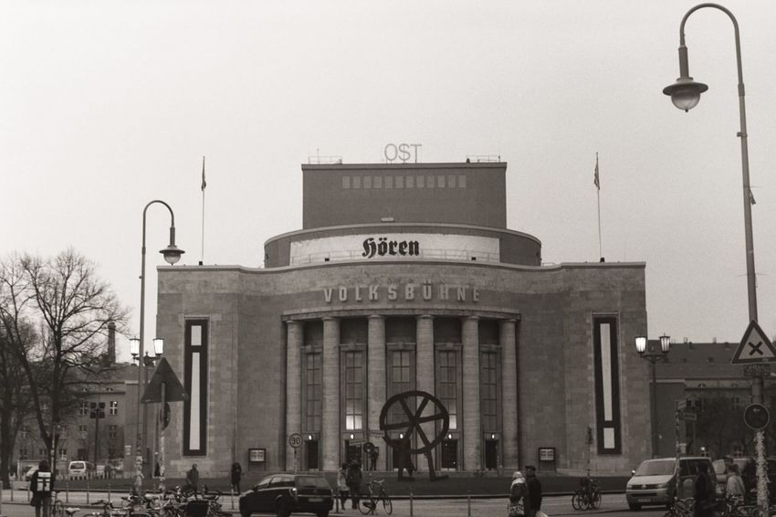 Volksbühne Berlin Building Exterior Built Structure City Clear Sky Real People Outdoors Sky People