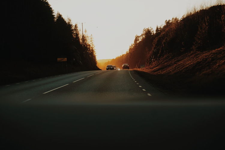 on the road Golden Hour Golden Light On The Road Road Car Cars Drive Driving Tree Road Car Sky vanishing point Double Yellow Line Car Point Of View Country Road The Way Forward Dividing Line Two Lane Highway Asphalt Capture Tomorrow It's About The Journey