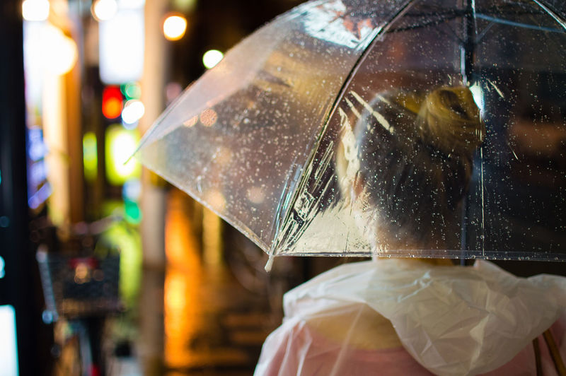 Rear View Of Woman In Umbrella During Rainy Season