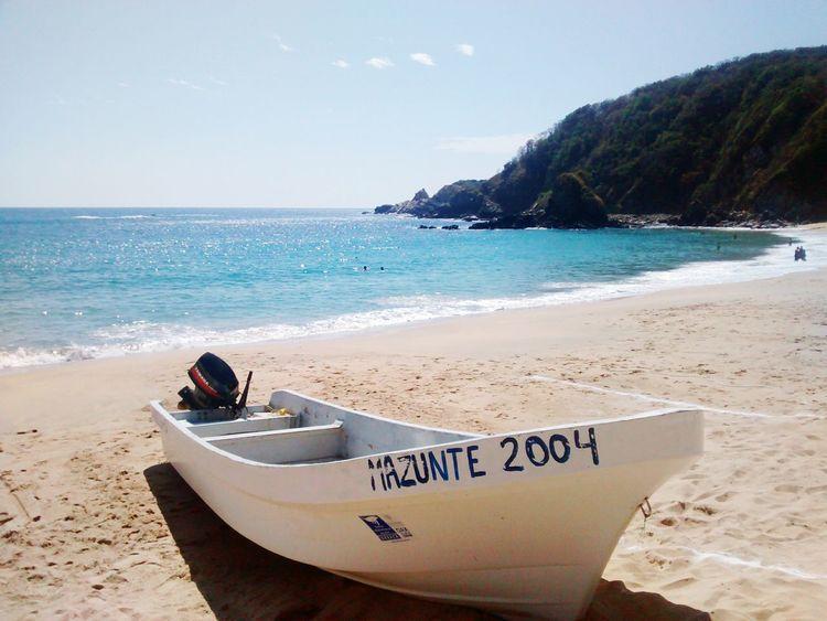 Oaxaca México  Mazunte Beach Photography Boat Sandbeach Sunnyday Bay Sea And Sky