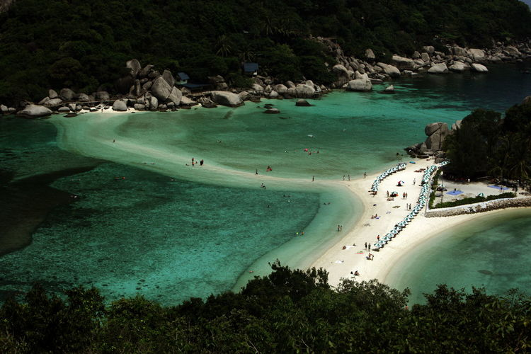High Angle View Of People Ate Beach