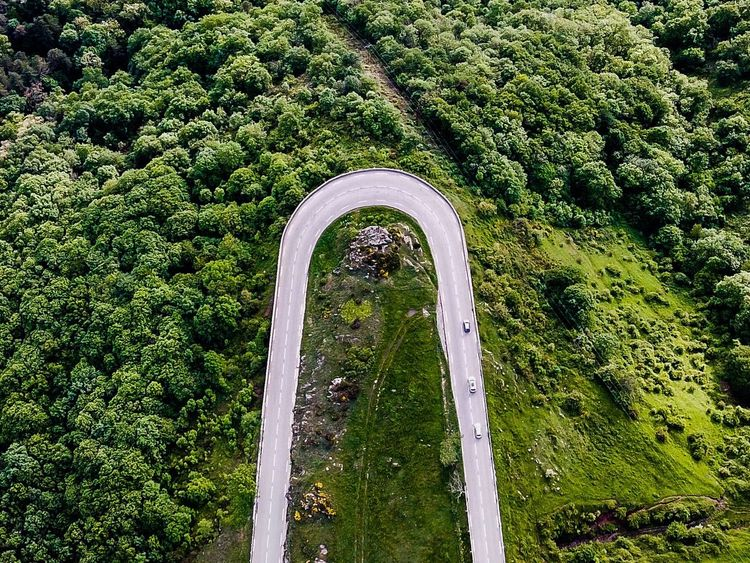 U turn Dronephotography DJI X Eyeem DJI Mavic Pro Road Green Color Growth Day Nature High Angle View No People