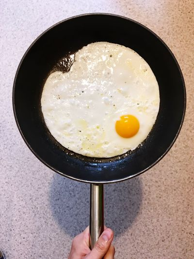 Cropped hand of person holding fried egg in pan