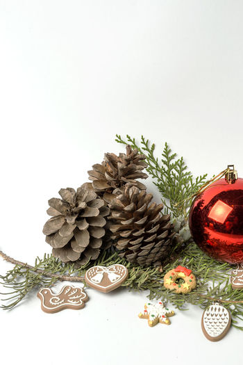 Celebration Christmas Christmas Decoration Christmas Ornament Close-up Copy Space Decoration Food Food And Drink Freshness Indoors  Large Group Of Objects No People Pine Cone Plant Still Life Studio Shot Table White Background