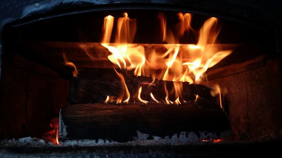Fire Flames Wood Coals Fireplace Indoors  Warm Cozy Relaxing Illuminated Flame Heat - Temperature Burning Fireplace Glowing