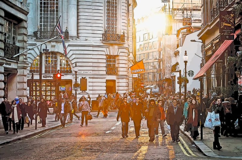 Crowd Large Group Of People City Group Of People Building Exterior Real People Street Architecture Built Structure City Life Men Walking City Street Adult Building Women Lifestyles Leisure Activity Transportation Outdoors Illustration Urbab Landscape