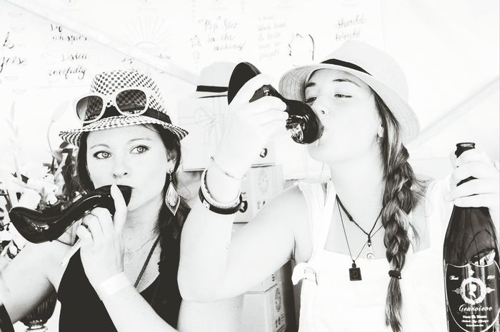 Drinking Bubbly out of a glass shoe Black & White