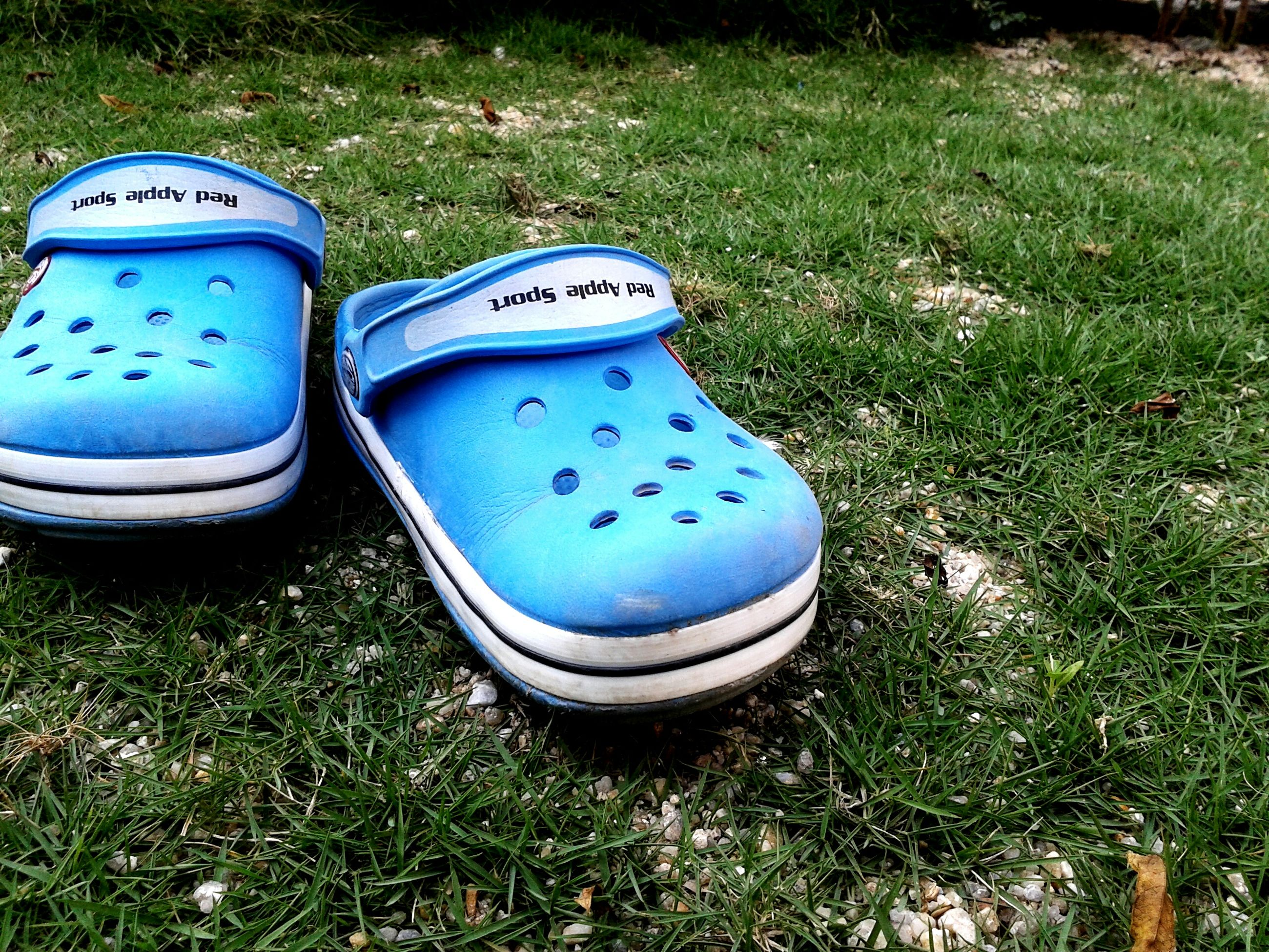 grass, blue, field, grassy, shoe, high angle view, green color, footwear, pair, abandoned, day, outdoors, low section, close-up, still life, plastic, no people, directly above, nature, lawn