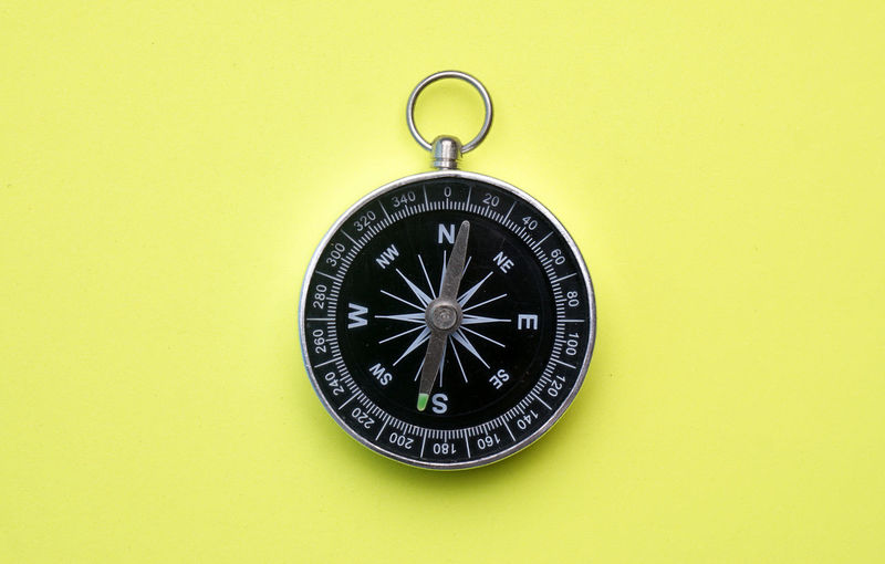Close-up of navigational compass on yellow background