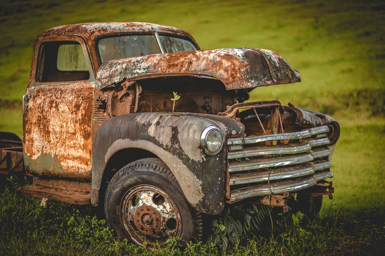 Abandoned Bad Condition Car Damaged Day Decline Demolished Deterioration Field Junkyard Land Land Vehicle Metal Mode Of Transportation Motor Vehicle Nature No People Obsolete Old Outdoors Ruined Run-down Rusty Transportation Weathered