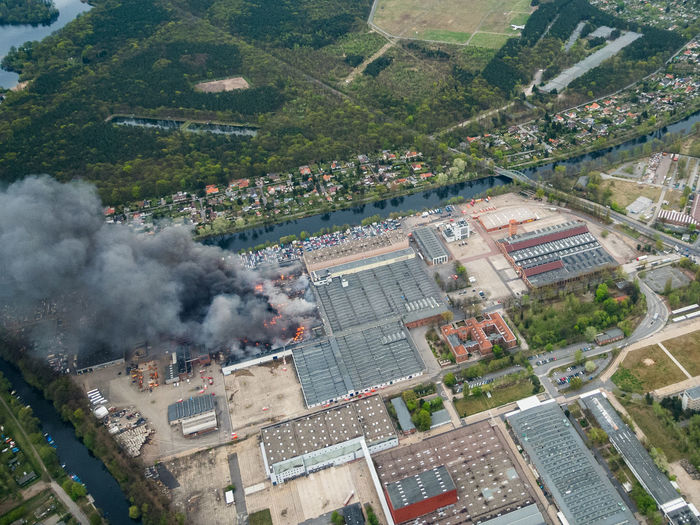 Aerial View Of Burning Building