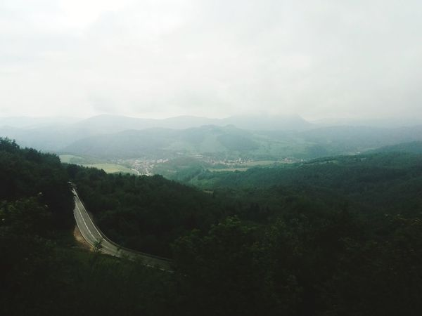 I'm walking on misty roads. Mountain Fog Forest High Angle View Horizon Sky First Eyeem Photo