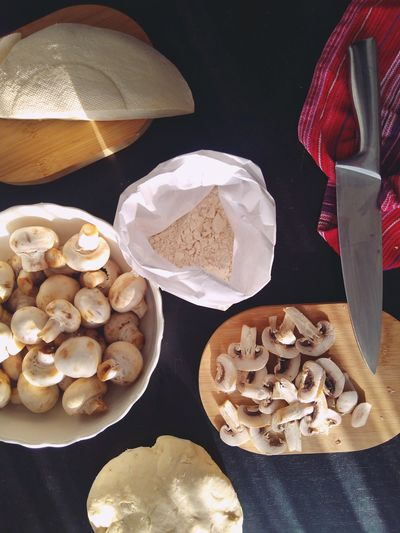 Baking Ingredients Mushrooms Homemade Food Cheese Table Black Background Variation Kitchen Knife Flour Dough Pizza Dough