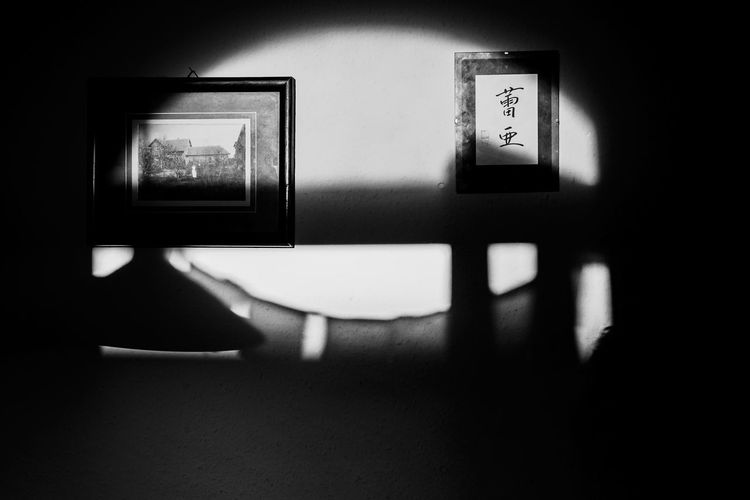 Don't Fear The Reaper ... Urban Perspectives The Devil's In The Detail Black & White Monochrome Black And White Indoors  Wall - Building Feature No People Seat Domestic Room Picture Frame Frame Absence Empty Architecture Shadow Wall Built Structure Sunlight My Best Photo