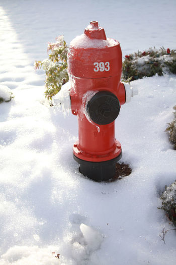 Beauty In Nature Cold Temperature Day Fire Hydrant High Angle View Nature No People Outdoors Red Safety Snow Water Weather White Color Winter