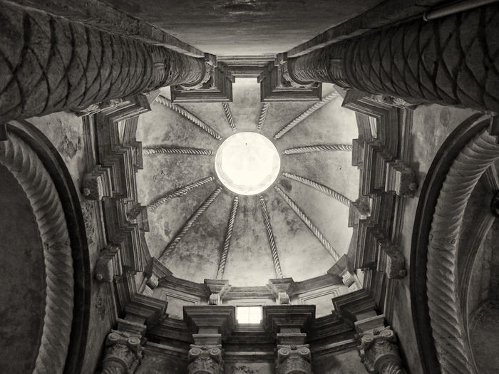 the interior of ciutadella cathedral Ciutadella Cathedral Architecture Indoors  Built Structure History The Past Ceiling Building No People Low Angle View Place Of Worship Religion Lighting Equipment Spirituality Hanging Illuminated Dome Belief Directly Below Staircase Cupola Architectural Column Light Electric Lamp Ornate