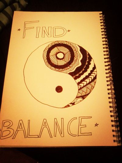 Bored art ying yang black n white find balance
