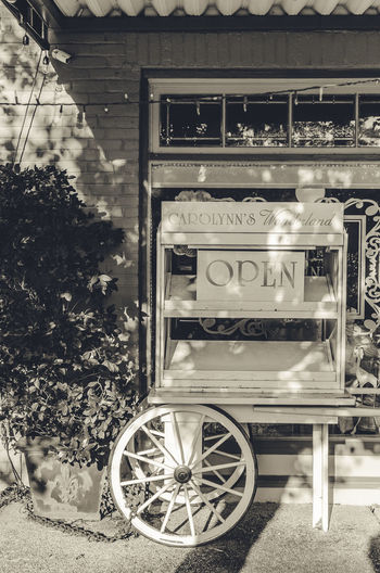 antique store is open Architecture Close-up Day No People Old-fashioned Open Outdoors Store Transportation Tree Wheel