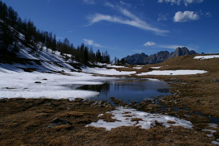 The last snow Sauris Mountain Snow Blue Sky Spring