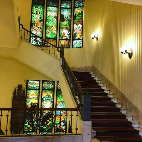 Window Indoors  Stained Glass Low Angle View Illuminated Steps And Staircases No People Architecture Staircase Day Budapest