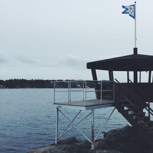 Blue Cold Flag Lake North Sea Sweden Wood