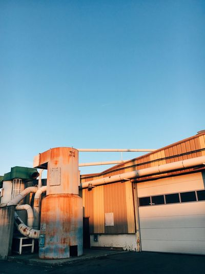Industrial beauty Industrialbeauty Morning Glory Morning Sun Morning Light Industrial Building  Industrial Landscapes Industrial Photography EyeEm Selects Clear Sky Copy Space Built Structure Blue No People Outdoors Day Nature Architecture Building Exterior Sky