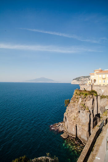View of Sorrento coastline at sunset with Vesuvio at the horizon Architecture Bay Of Naples Beauty In Nature Cristal Clear Day Flying High Horizon Over Water Nature No People Outdoors Peninsula Scenics Sea Sky Sorrento Travel Destinations Vesuvio Vesuvius