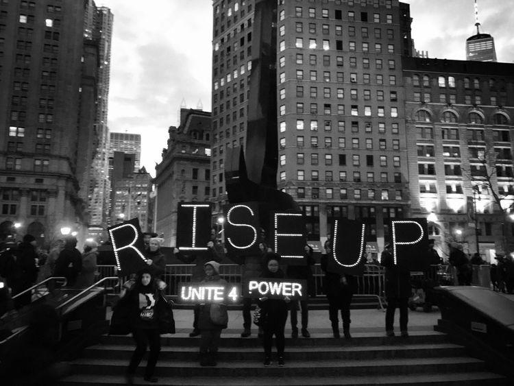 Rise Up Nobannowall NYC EyeEm Best Shots - Black + White EyeEm Best Shots Streetphotography New York City Politics