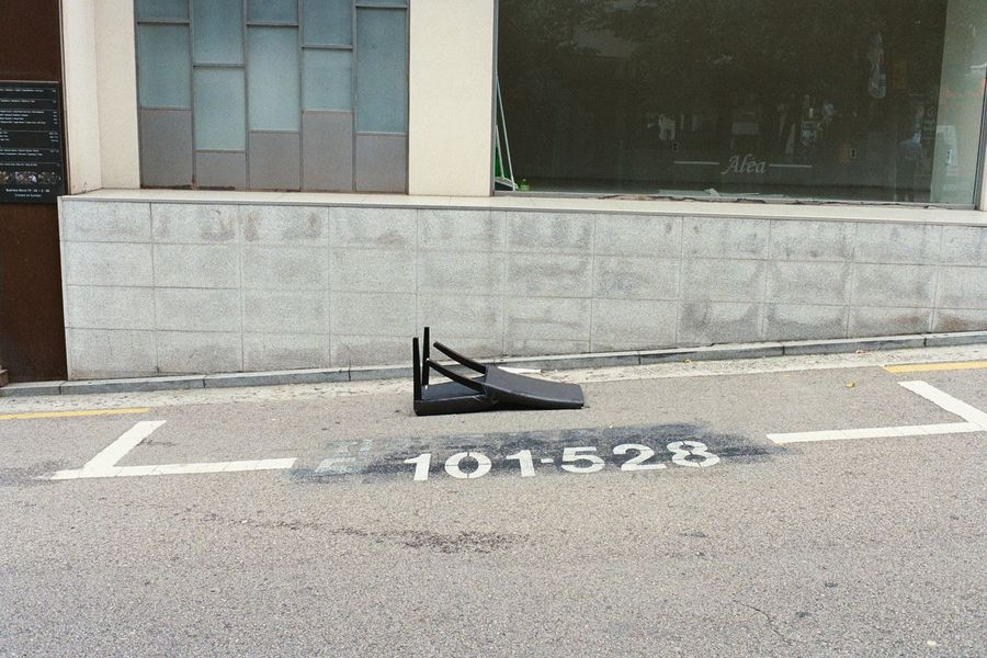Street Photography Film Photography Filmisnotdead Street Parking Sign Broken Chair Kodak