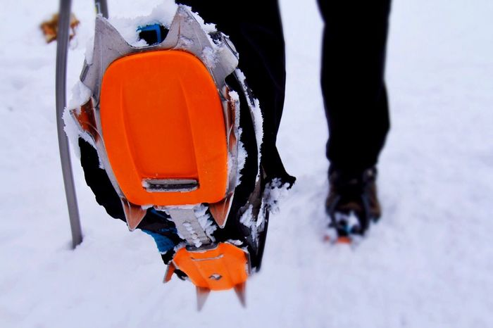 Orange Color Snow Winter Cold Temperature Low Section Walking Ice Day Outdoors Nature People Foot Boots Crampons Hiking Adventure Climbing Extreme Sports Gear EyeEm Best Shots EyeEm Gallery Spikes in Iceland MISSIONS: The Week On EyeEm