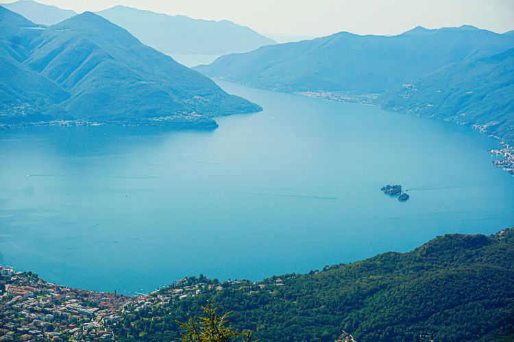 Aerial view of ascona and the brissago islands, switzerland