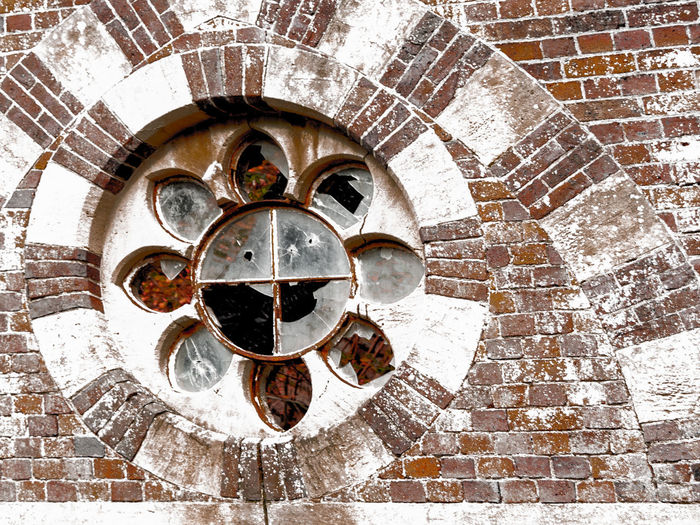 window Architecture Belief Brick Brick Wall Built Structure Close-up Day Directly Above High Angle View Metal No People Old Outdoors Pattern Place Of Worship Shape Wall Wall - Building Feature Weathered