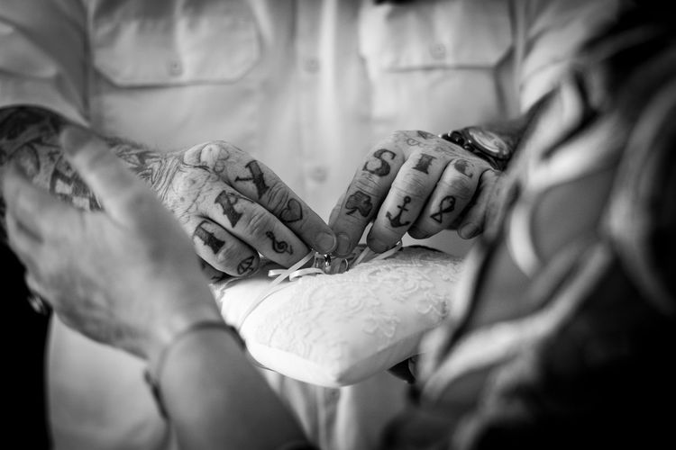 RINGS Human Hand Hand Two People Human Body Part Women People Adult Love Indoors  Selective Focus Positive Emotion Real People Togetherness Midsection Men Emotion Bonding Holding Focus On Foreground Close-up Care Finger Inkedlife Inked Wedding Rings Blackandwhite Wedding Photography Inked Up Black And White Black & White Monochrome 50mm