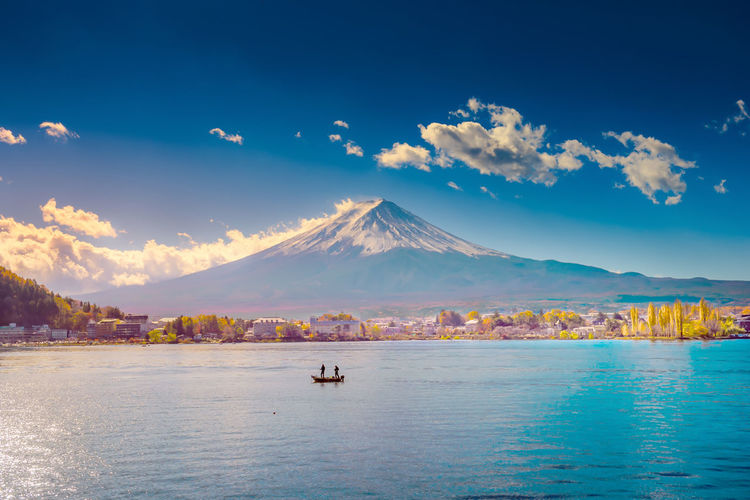Scenic view of lake and mt fuji against cloudy sky