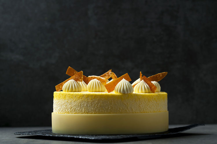 Ellegant entremets in yellow color Cakes! Chocolate Dessert Macaroons Solar Cake Chantilly Dessert, Luxurious Ellegant Entremet Fancy Mirror Glazed Pastry Chef Pastryporn Stone Material Sweet Vanilla Yellow
