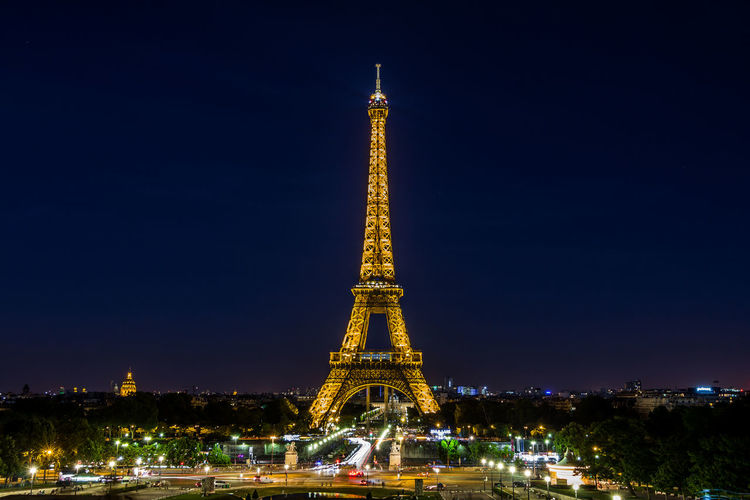 Nice view of the Eiffel tower in Paris Paris Paris France Eiffel Tower Night Architecture City Illuminated Built Structure Travel Destinations Tower Sky Building Exterior Tall - High Tourism Travel Nature History The Past City Life Architectural Feature No People Outdoors Cityscape Spire
