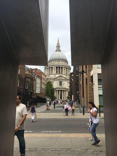 People walking in city buildings