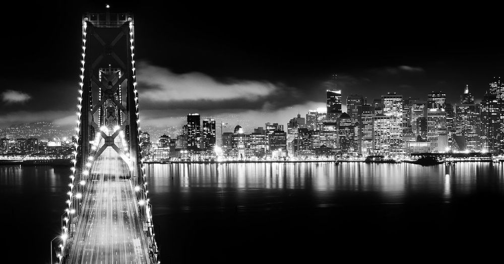 San Fransisco California City At Night Nightphotography San Francisco United States Architecture Black And White Bridge - Man Made Structure Building Exterior Built Structure City City Night Cityscape Illuminated Modern Nature Night No People Outdoors San Francisco Bay Sky Skycraper Skyscraper Urban Skyline Water An Eye For Travel Mobility In Mega Cities California Dreamin