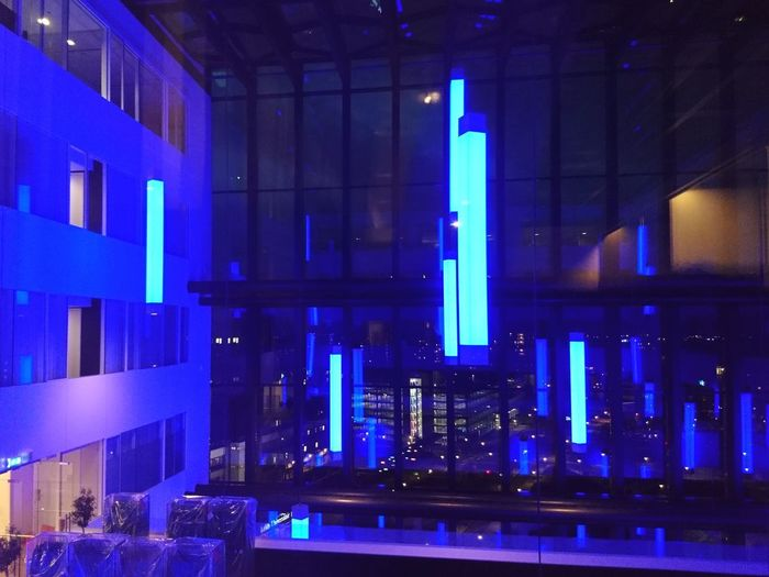 Illuminated modern building at night