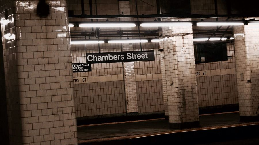 -J Line- Chambers Street EyeEm Best Edits Indoors  Font NYC Subway NYC NYC Photography NYC Street Illuminated Subway