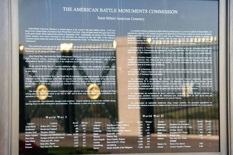 American Battle Monuments Commission maintains 25 permanent American burial grounds, and 26 separate memorials, monuments and markers on foreign soil. Of the 116,516 Americans that lost their lives during World War I, 30,922 are interred at overseas American military cemeteries. Located at the center of the Saint Mihiel salient, the Saint-Mihiel American Cemetery, in Thiaucourt, contains 4,153 burials and declares 284 as missing. After World War I, the ABMC erected a memorial chapel in each of the eight American military cemeteries in Europe. http://pics.travelnotes.org/ American American Battle Monuments Commission American Cemetery American Burial Grounds American Military France Marker Memorial Michel Guntern Missing Monuments Reflection Saint Mihiel Sign Travel Photography American Soldiers Backgrounds Burial Ground Close-up Europe Fallen French Military Remembrance Travelpics