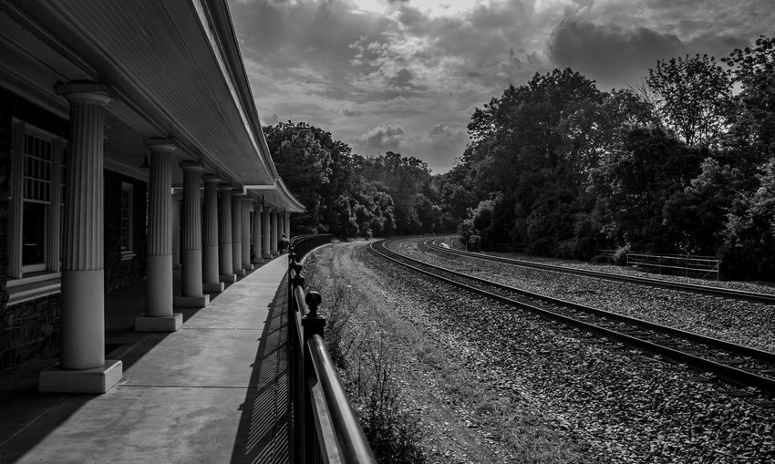 George Washington's train station Blackandwhite Cloud Cloud - Sky Cloudy Day Diminishing Perspective EyeEm Best Edits EyeEm Best Shots EyeEm Gallery George Washington Leading Lines Nature No People Outdoors Public Transportation Rail Transportation Railroad Track Railway Track Revolutionary War Sky The Way Forward Tree TreePorn Valley Forge National Park Vanishing Point