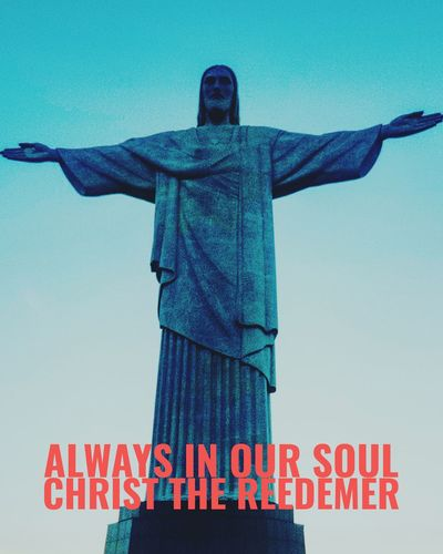One Soul Statue Human Representation Text Low Angle View Sky Sculpture Day Communication Travel Destinations Outdoors Blue No People Clear Sky Architecture Rio De Janeiro Eyeem Fotos Collection⛵ Riodejaneiro