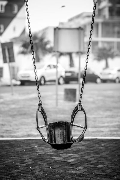 Swing Chain Deserted Empty Swing Hanging Monochrome No People Outdoors Play Playground Swing