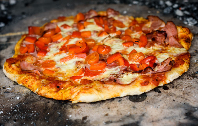 High angle view of pizza