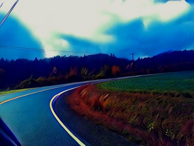 Cloud - Sky Low Angle View Harvest Time Small Town America Fall Colors October Afternoon Capturing Motion Essence Of Fall Vibrant Color EyeEm Photo Of The Day Outdoors Photograpghy  The Week On EyeEem Isnt Nature Grand? The Way Forward Road Outdoors Night Horizontal Illuminated Landscape Scenics Beauty In Nature Sunset Nature Winding Road