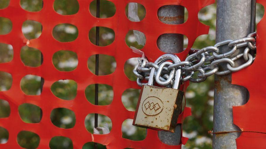 Close-up of padlocks on metal gate